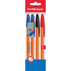 ErichKrause - Esferográficas R-301 Pack 4, azul 1mm
