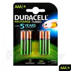 DURACELL Pack 4 Pilhas AAA Recarregáveis, Recharge Turbo 850mAh/ 1.2v