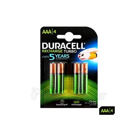 DURACELL Pack 4 Pilhas AAA Recarregáveis, Recharge Turbo 850mAh/ 1.2v