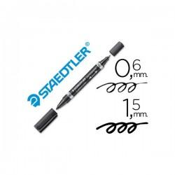 Staedtler - Marcador Duo Preto, Lumocolor - M e F