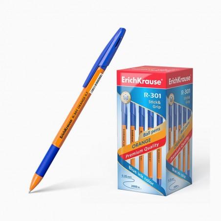 Esferográfica Stick Orange R-301 azul ou preto 0.35mm (ErichKrause)