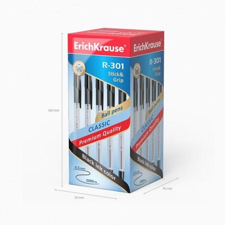 Esferográfica R-301 Preto 0.5mm Stick&Grip Classic (ErichKrause)