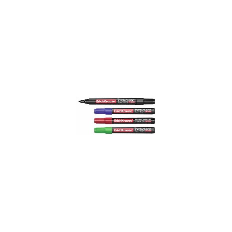 ErichKrause - 4 Permanent Markers P-200 blue, black, green and red 0.8-2.2mm