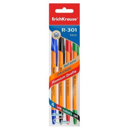 ErichKrause - 4 R-301 ball pens blue, black, green and red 0.7mm Orange