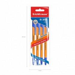 ErichKrause - 4 Ballpoint R-301 Blue Ink 0.7mm (Orange)