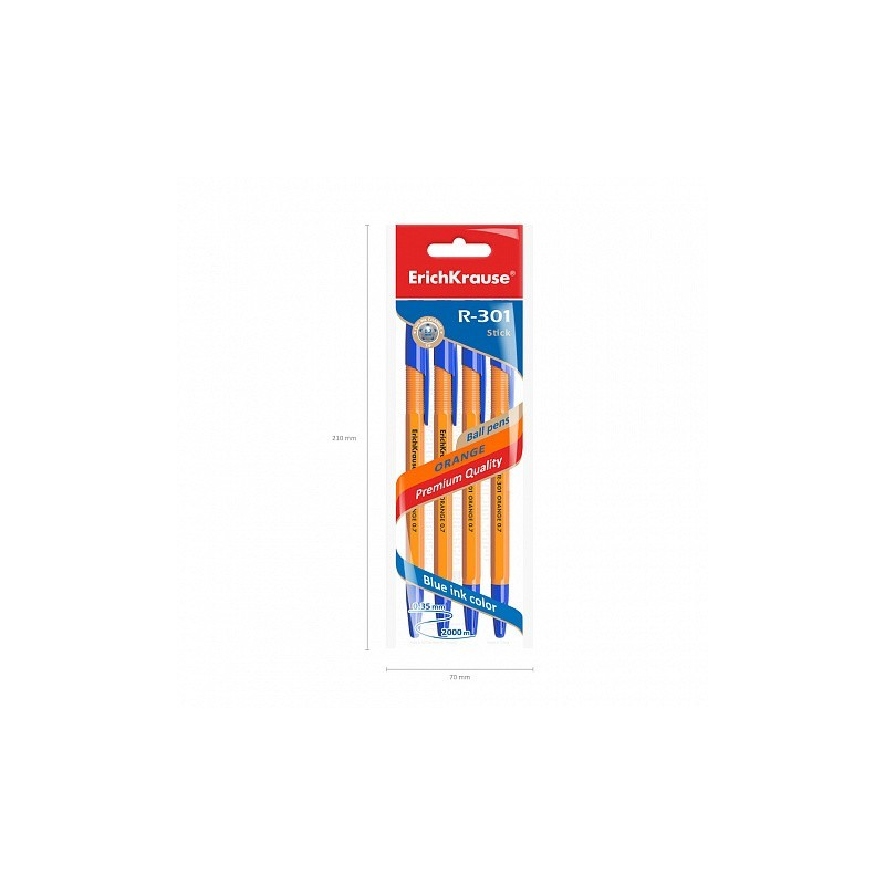 ErichKrause - 4 Esferográficas R-301 Tinta Azul 0.7mm (Orange)