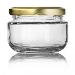 Glass bottle with gold cap...